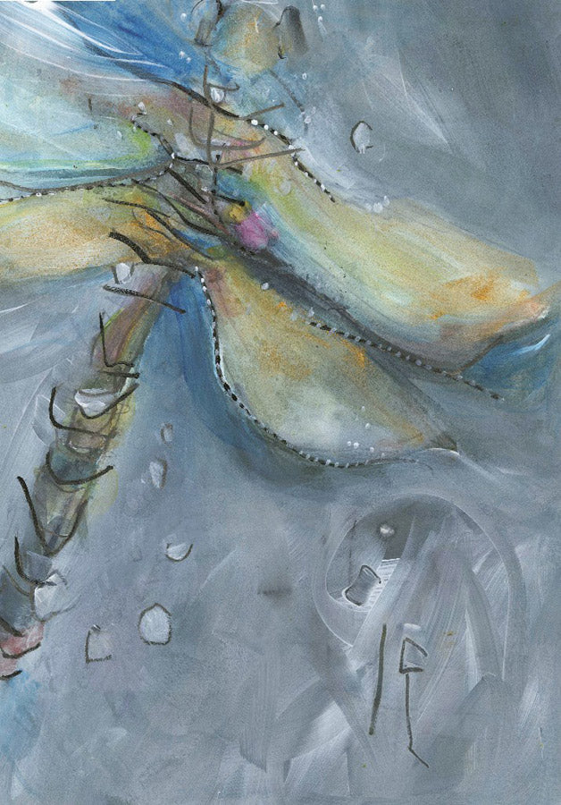Water media painting, Dragonfly by Christine Alfery