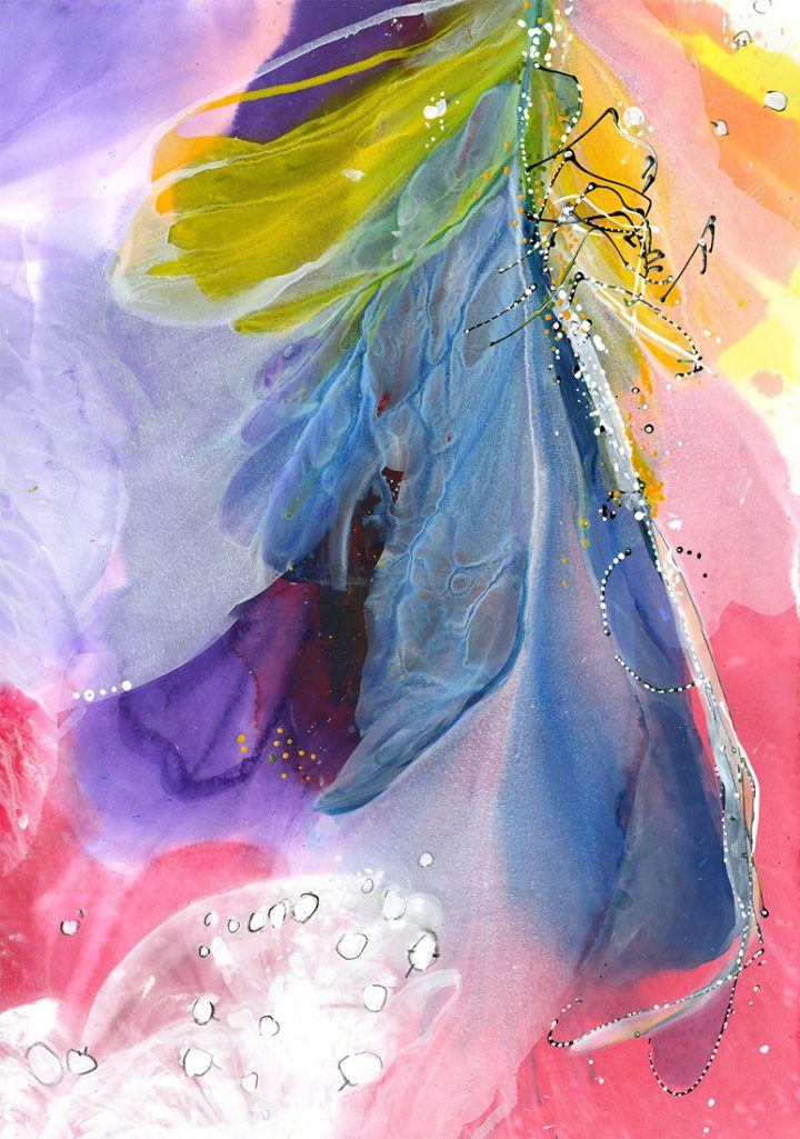 Water media painting, Emerging-Dragonfly by Christine Alfery