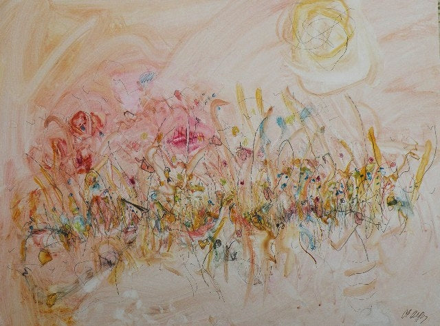 Water media painting, Fall Grasses by Christine Alfery