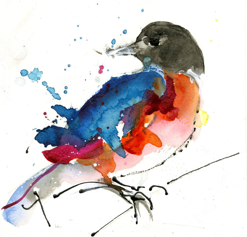Water media painting, First Robin by Christine Alfery