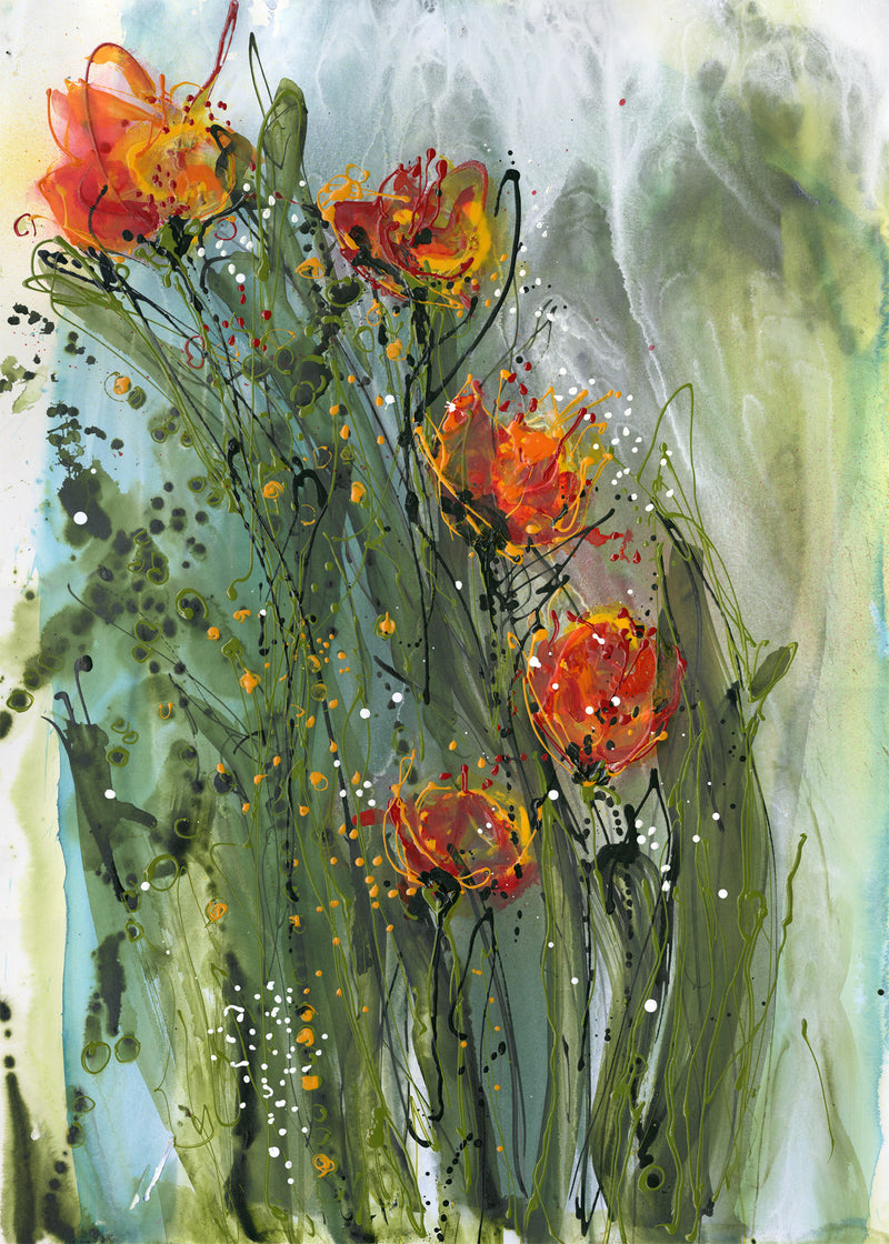 Water media painting First Tulips by Christine Alfery