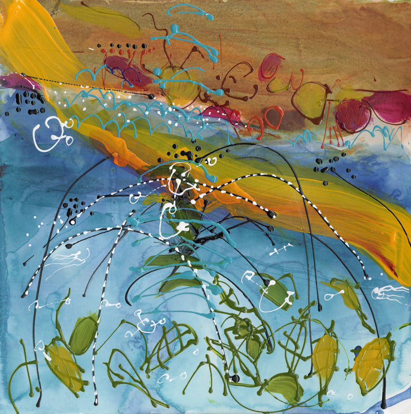 Water media painting,  Fishes in the Sea by Christine Alfery