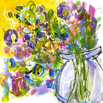 Water media painting, Flowers From My Garden - Yellow by Christine Alfery