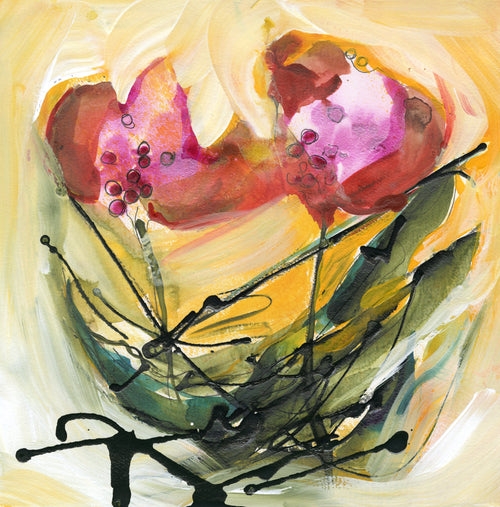 Water media painting, Full Bloom by Christine Alfery