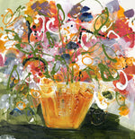Water media painting, Garden Flowers in a Terracotta Vase by Christine Alfery