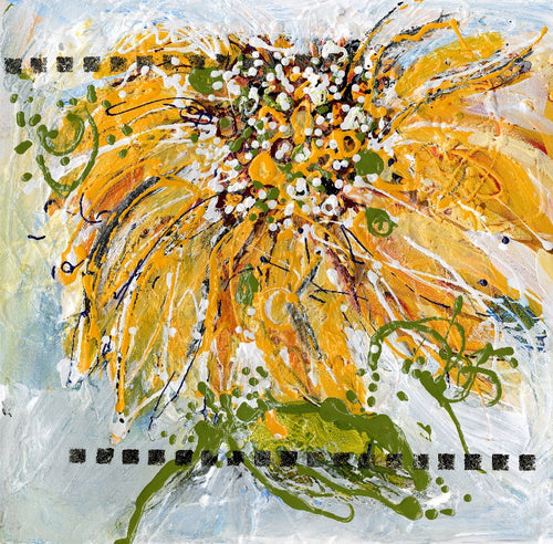 Water media painting, Gestural Sunflower by Christine Alfery