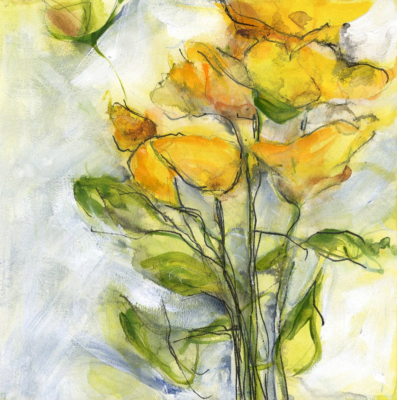 Water media painting, Happy Flowers by Christine Alfery