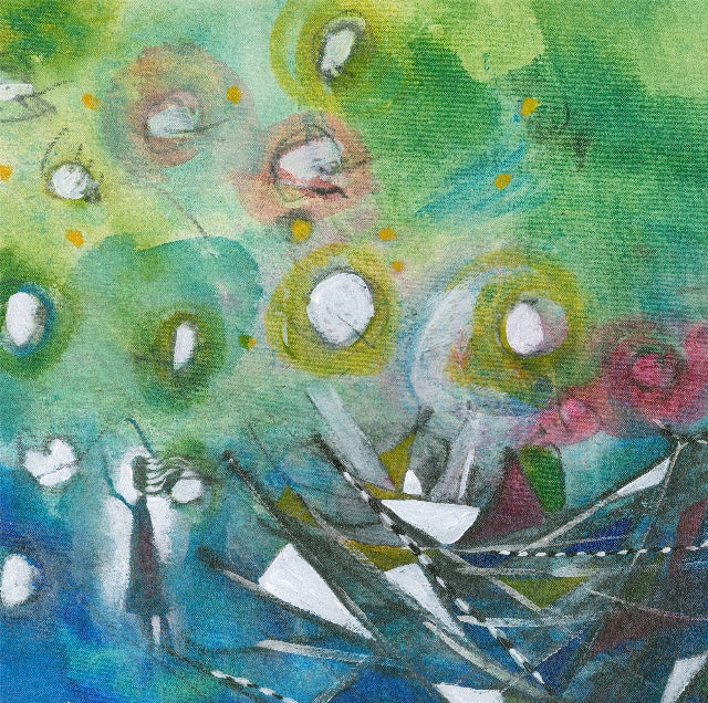 Water media painting, Hello Hello Hello by Christine Alfery