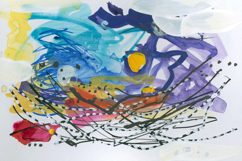 Water media painting, Here Comes the Sun by Christine Alfery