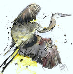 Water media painting, Heron  by Christine Alfery