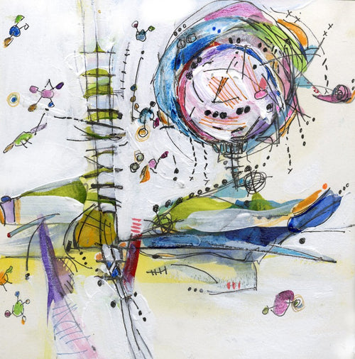 Water media sketch, Hot Air Balloon by Christine Alfery