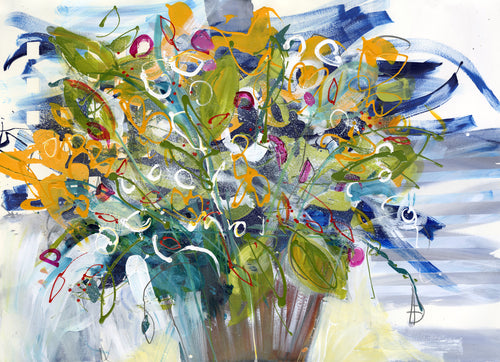 Water media painting,  It's Time To Plant The Pots by Christine Alfery