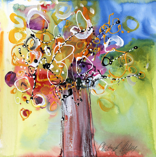 Water media painting,  Jillaynes Vase by Christine Alfery