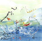 Water media painting, Just Another Day Fishing  by Christine Alfery