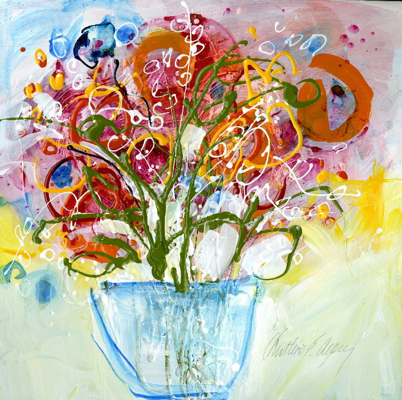 Water media painting, Be Mine Say It With Flowers by Christine Alfery