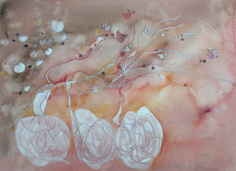 Water media painting,  Knots Unravelling II by Christine Alfery