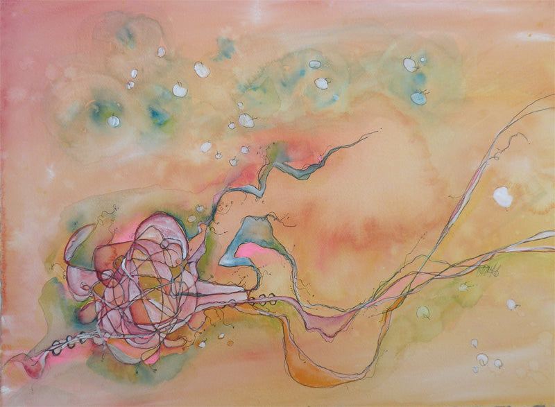 Water media painting, Knots Unravelling III by Christine Alfery