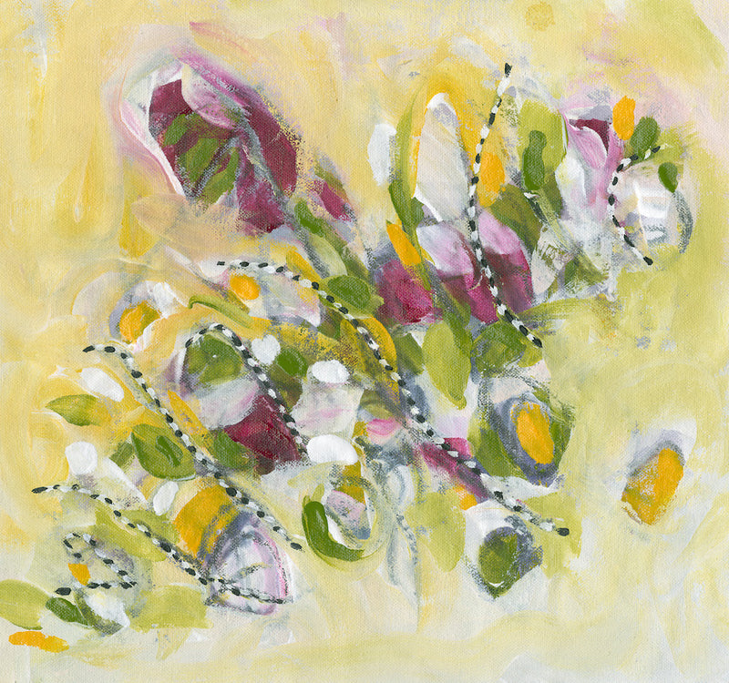 Water media painting, LAL Flowers  by Christine Alfery