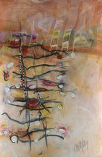 Water media painting, Ladders II by Christine Alfery