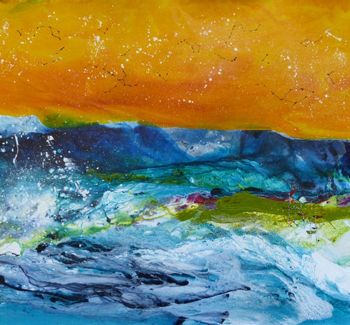 Water media painting, Rapids  by Christine Alfery