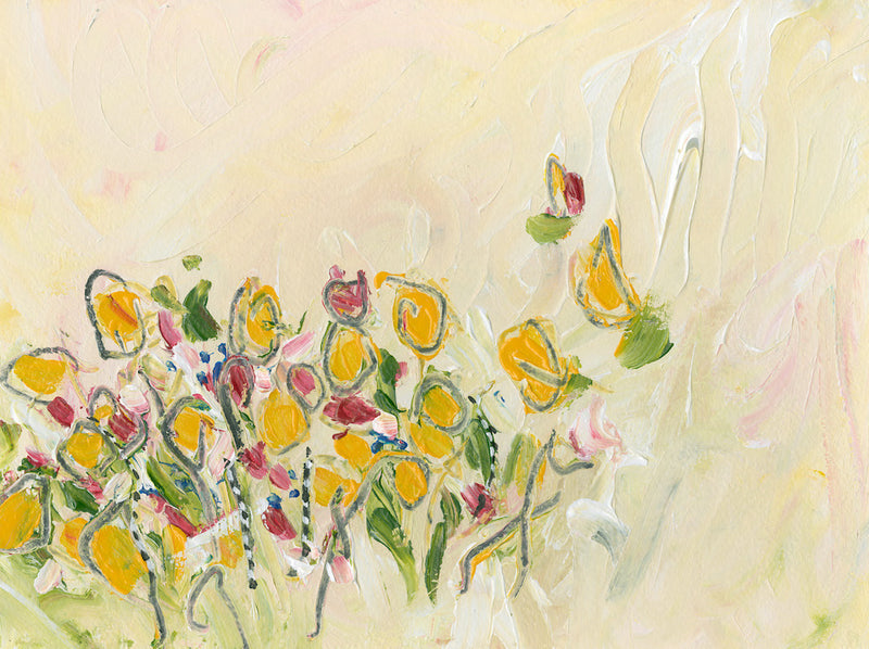Water media painting, Lilies in the Garden  by Christine Alfery