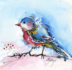 Water media painting,  Little Blue Bird by Christine Alfery