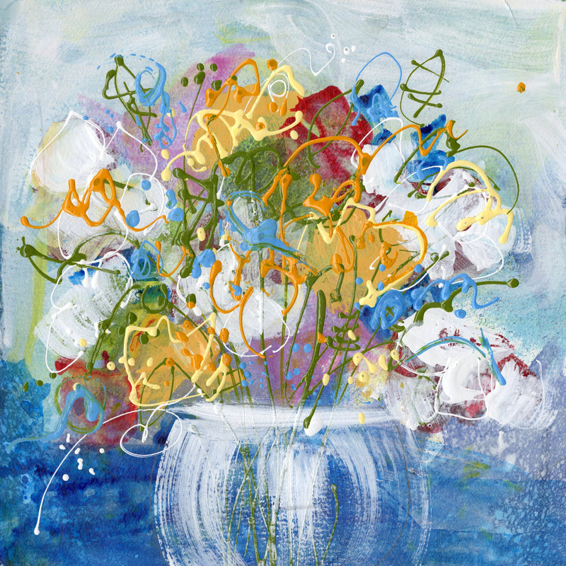 Water media painting,  Little Blue Flowers in a Bouquet by Christine Alfery