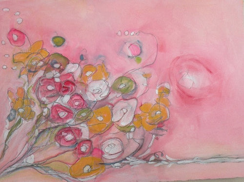 Water media painting, Maggie's Bouquet by Christine Alfery