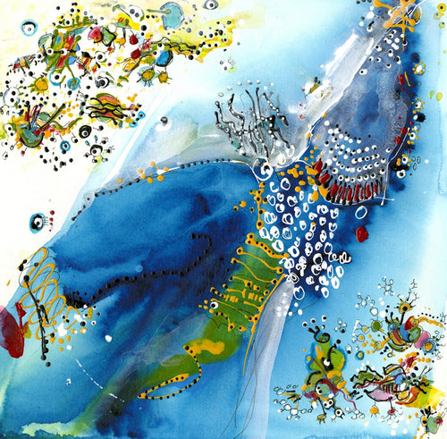 Water media painting, Mr Blue and His Friends by Christine Alfery