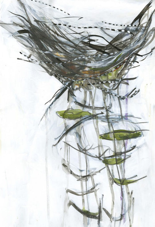 Water media painting, Eagles Nest III by Christine Alfery