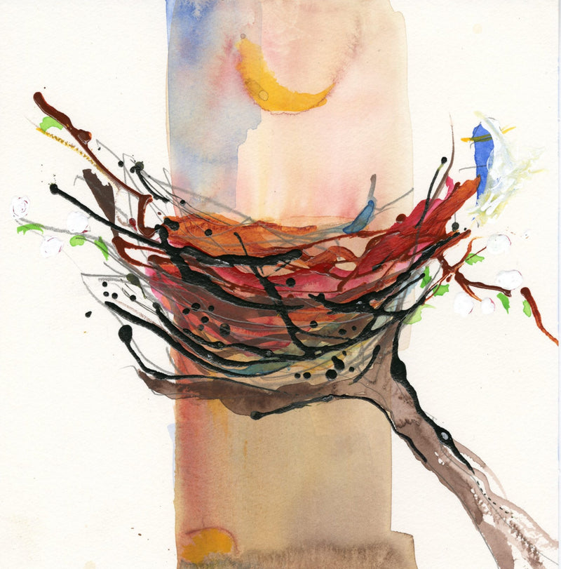 Water media painting, Nest VII  by Christine Alfery
