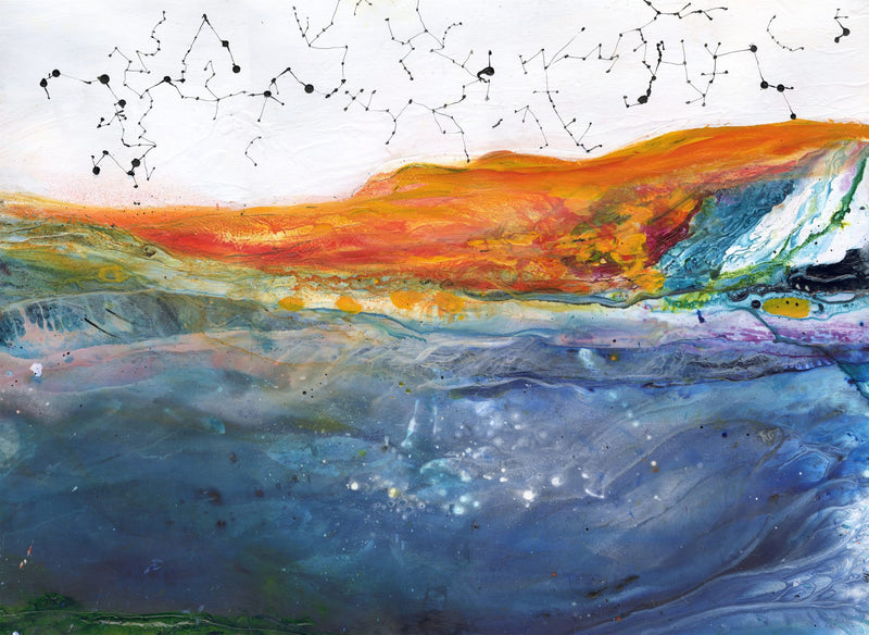 Water media painting Oceans Deep by Christine Alfery