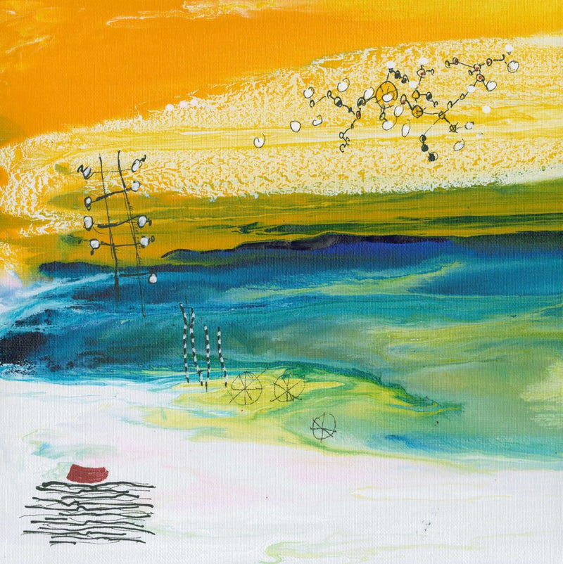 Water media painting, Out to Sea II by Christine Alfery