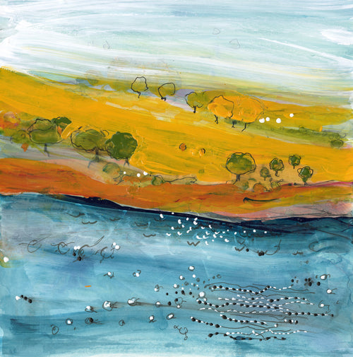 Water media painting,  Pacific Shore by Christine Alfery