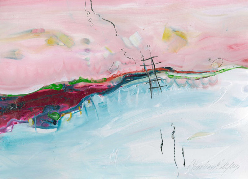 Water media painting, Pink Sky by Christine Alfery