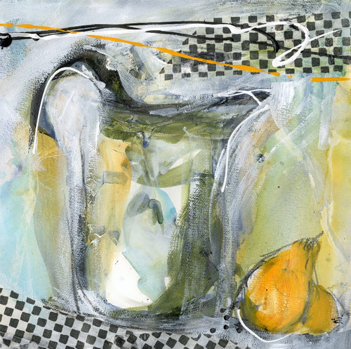 Water media sketch on paper, Pitcher and a Lemon by Christine Alfery