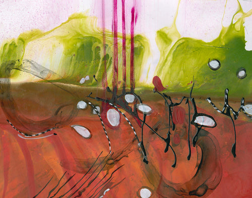 Water media painting, Playful Landscape II by Christine Alfery
