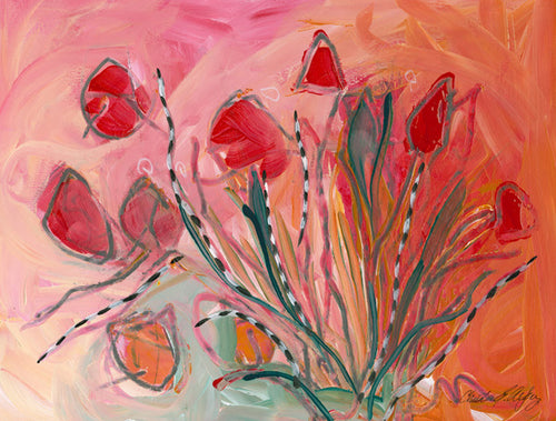 Water media painting, Red Tulips by Christine Alfery