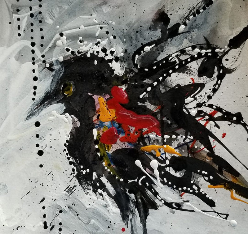 Water media painting,  Red Winged Blackbird by Christine Alfery