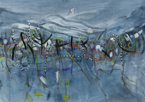 Water media painting, Reeds Along the Shore  by Christine Alfery
