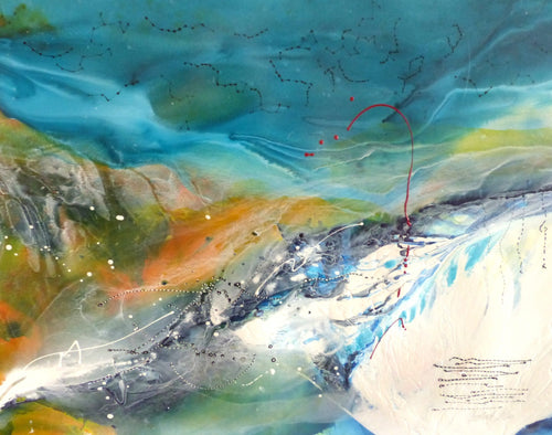Water media painting, River 2  by Christine Alfery