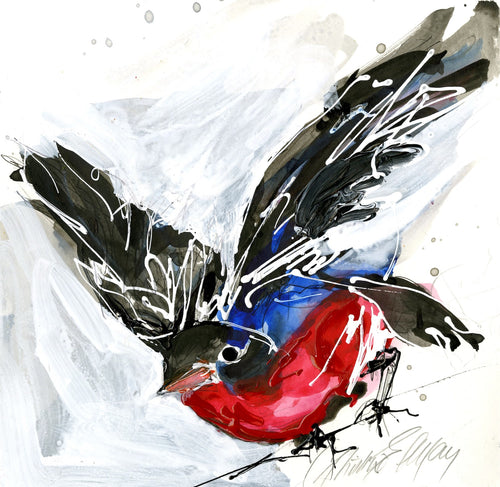 Water media painting, Robin by Christine Alfery