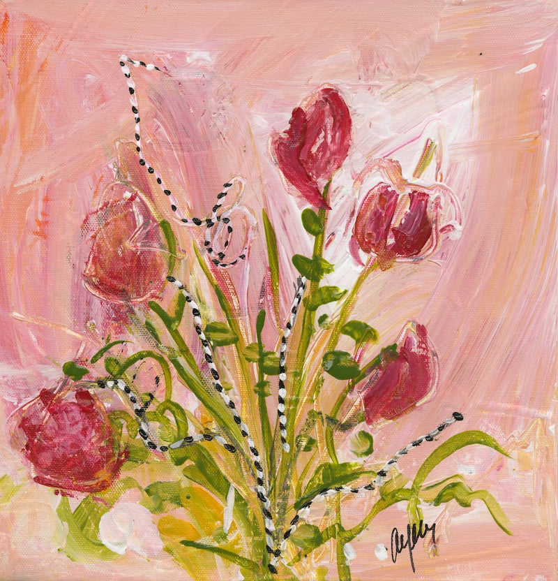 Water media painting,  Rose Violets by Christine Alfery