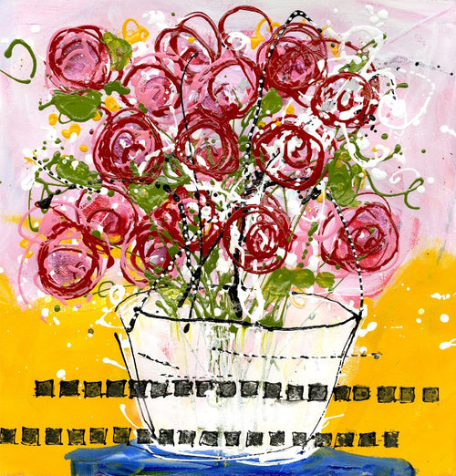 Water media painting, Say I Love You With Flowers by Christine Alfery