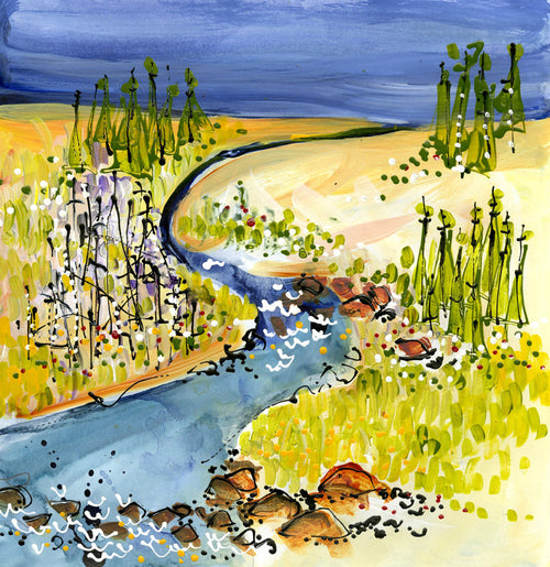 Water media painting, Snowshoe River by Christine Alfery