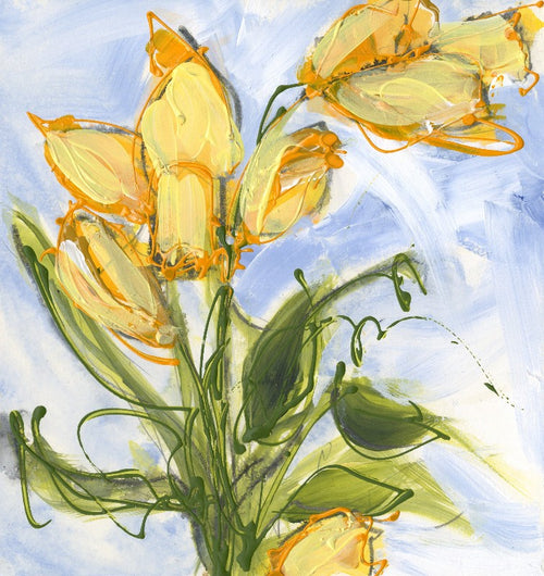 Water media painting, Springtime Daffodils by Christine Alfery