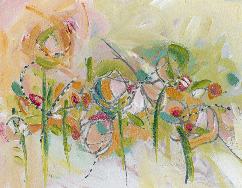 Water media painting, Springtime Sprouts by Christine Alfery