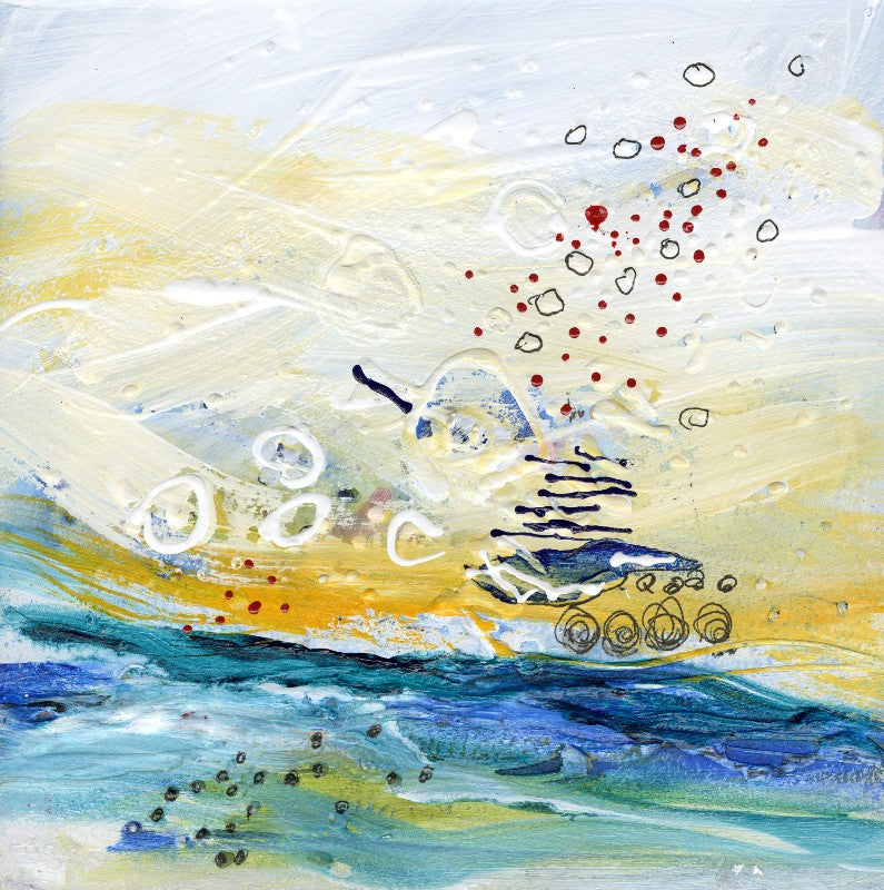 Water media painting, Starlings by Christine Alfery