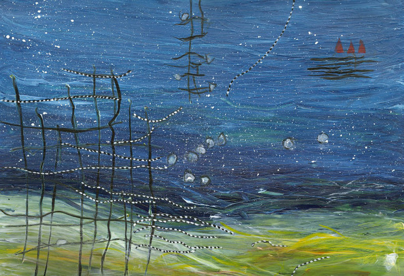 Water media painting, Stars in the Night by Christine Alfery