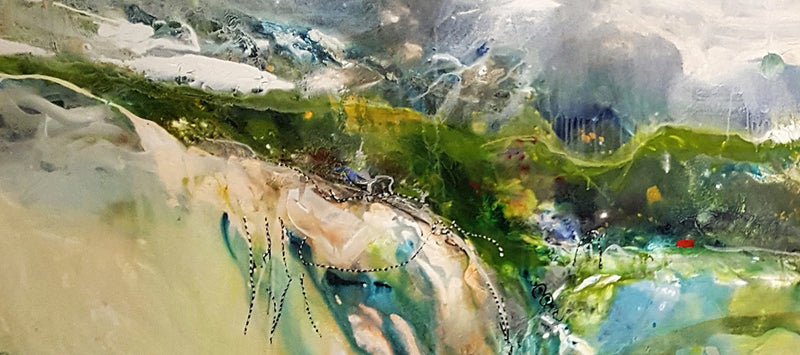 Water media painting, Stormy Skies by Christine Alfery